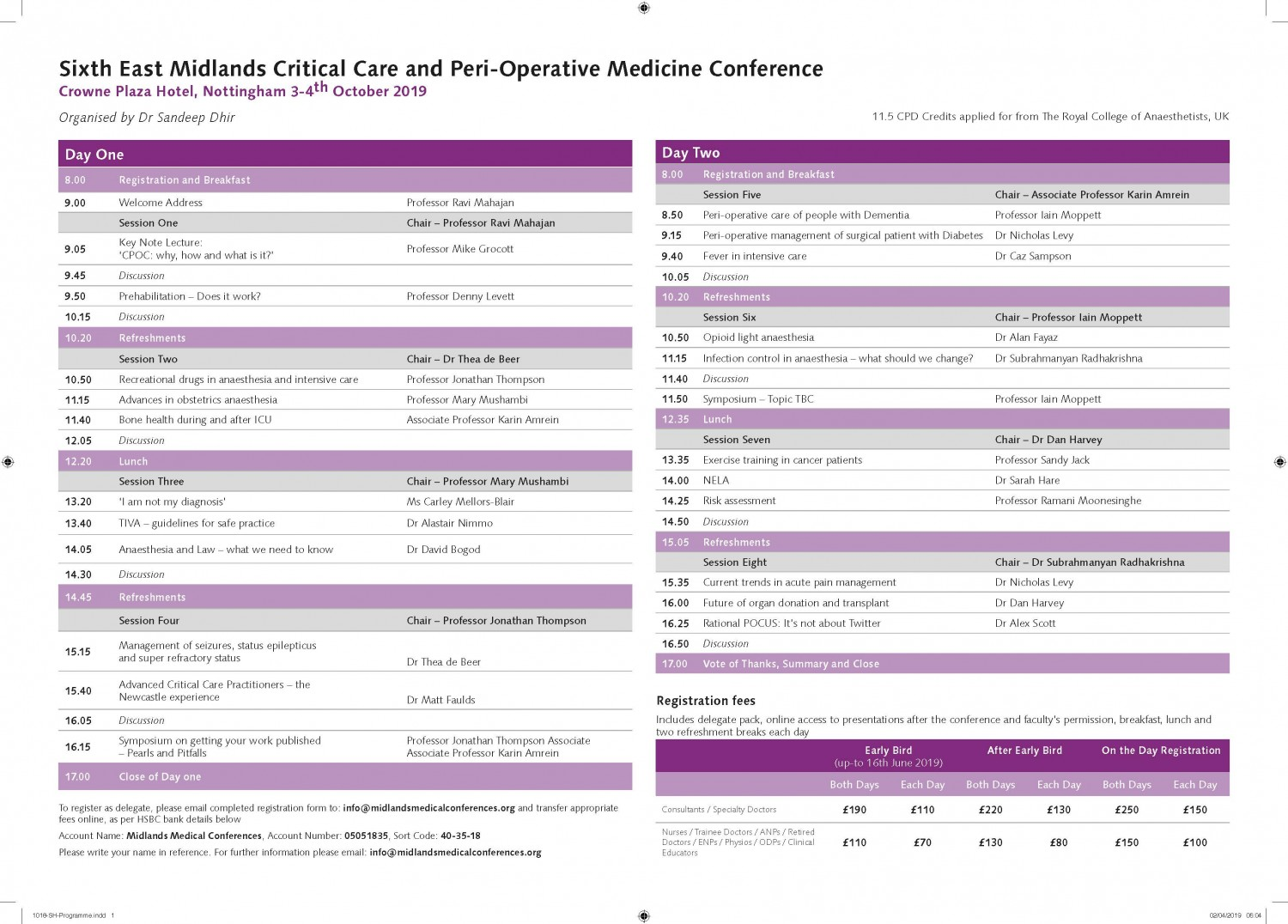 Early Bird rates ending soon for 6th EMCCare and POMedicine